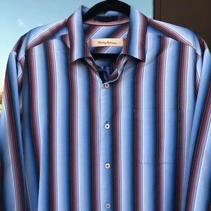 Tommy Bahama Blues/Reds Striped Dress Shirt L
